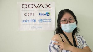 On March 10. 2021, Dr. Paula Syrah Esguerra, 37, fellow-in-training for maternal-fetal medicine at Dr. Jose Fabella Memorial Hospital in Manila, gets her first dose of the COVID-19 vaccine provided by the COVAX Facility.