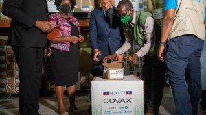 The first batch of COVID-19 vaccine doses arrives in Haiti on July 14, 2021, a donation from the U.S. government.