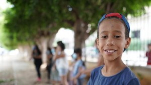 Ten-year-old Abdulkarim participates in psychosocial support activities at the Child-Friendly Space set up by UNICEF at the Karantina public garden in Beirut, Lebanon on September 1, 2020.