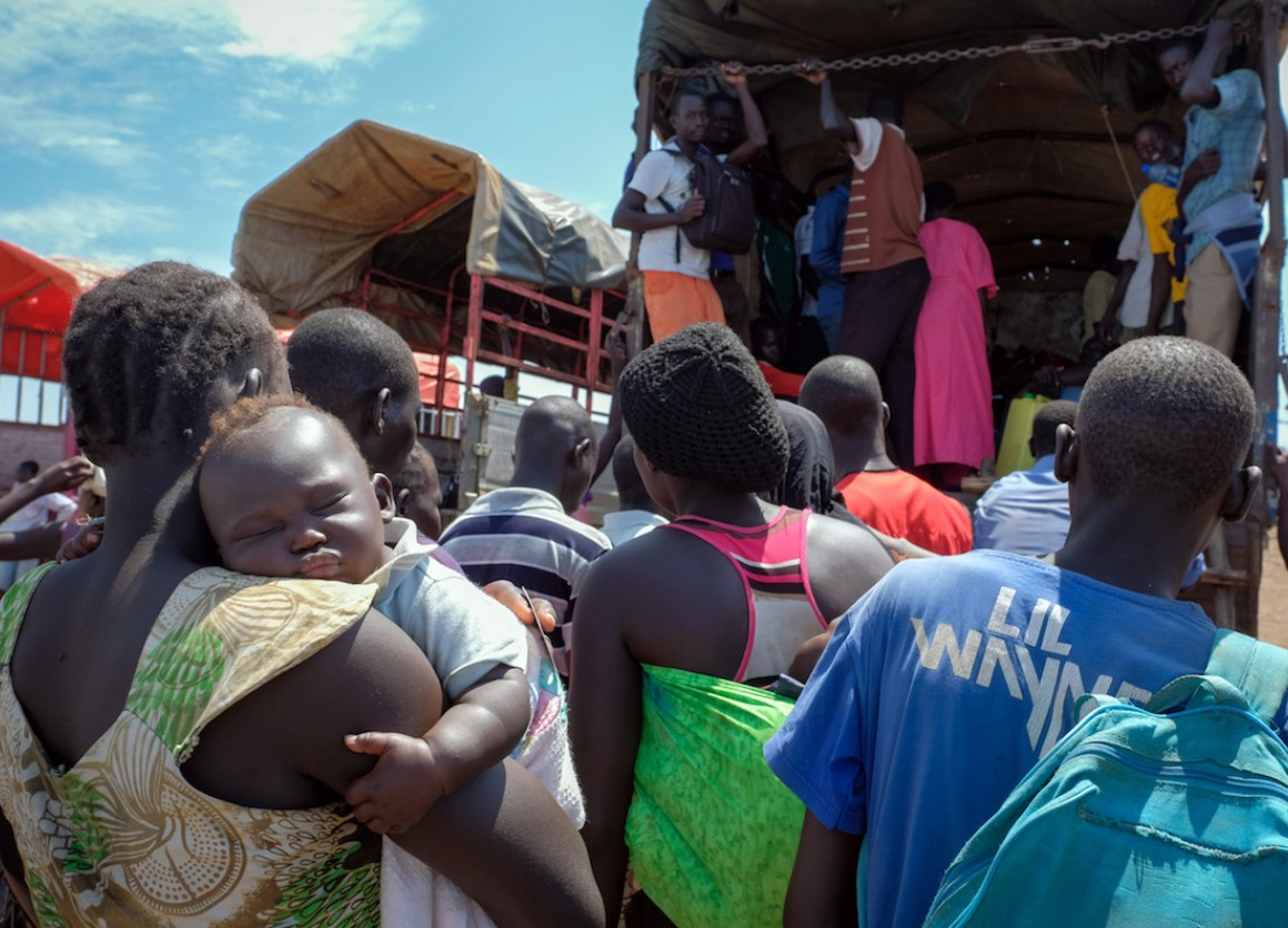 Refugees from South Sudan arriving at Bidi Bidi camp in Uganda.