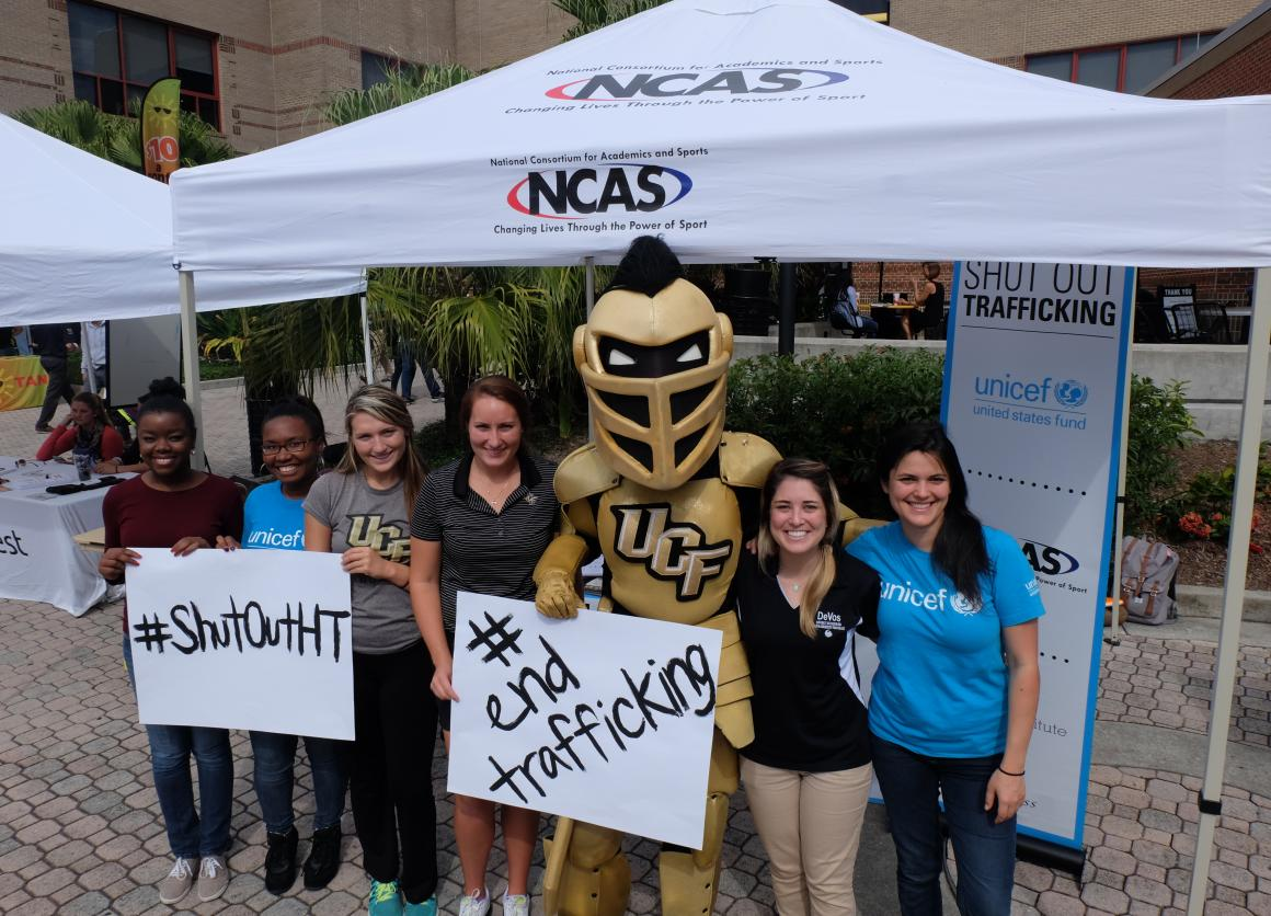 Shut Out Trafficking Volunteers at UCF pose with Knightro