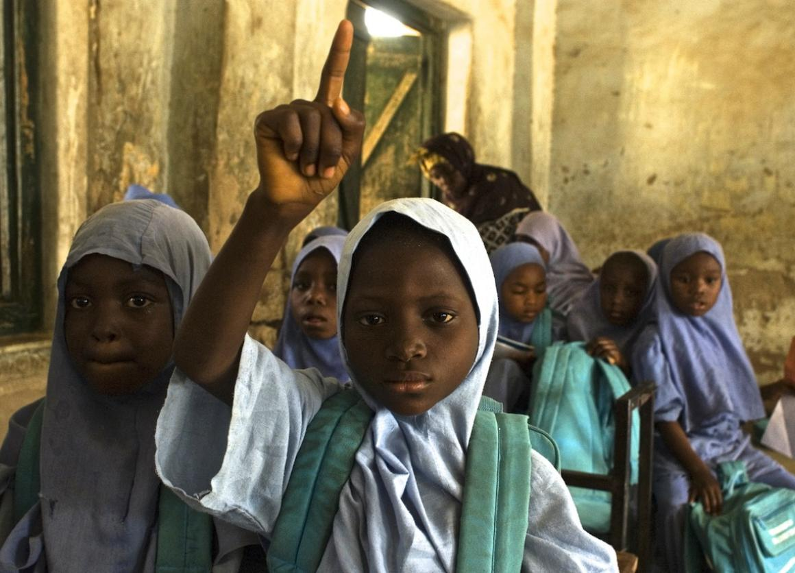 Girls attend class at Waziri Mazadu Primary School in the town of Dass in the northern Nigerian state of Bauchi.
