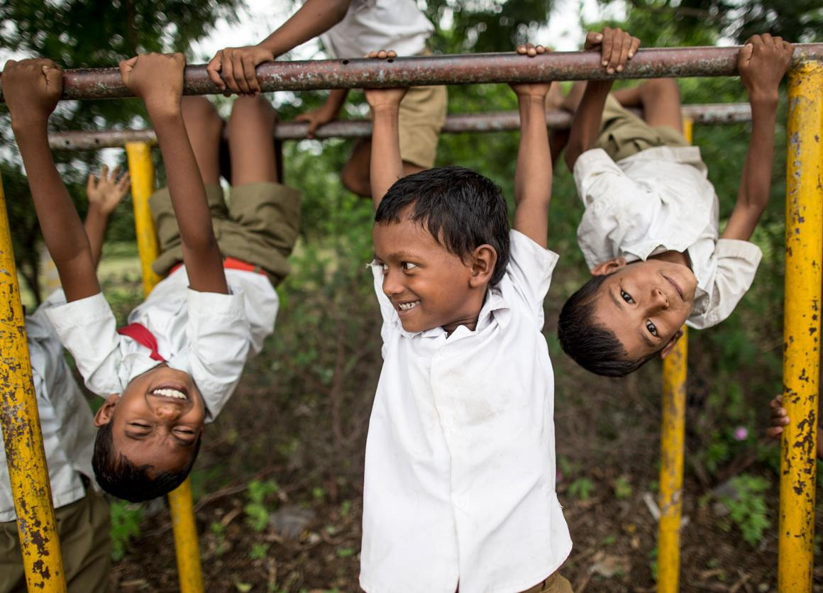 Children play during their lunch break at The Zilla Parishad Primary School in Muhammadpur Village.