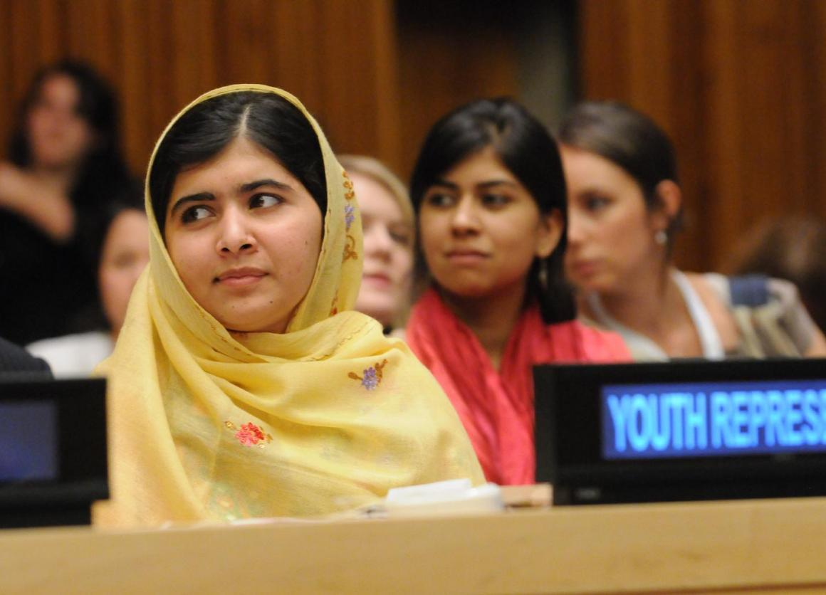 Educational activist and Noble-prize winner Malala Yousafzai of Pakistan attends a leadership panel during the Global Education First event at U.N. Headquarters on September 25, 2013.