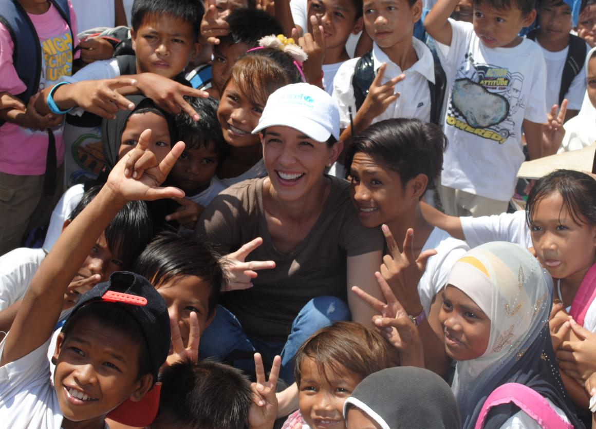 Andrea in Malaysia with kids