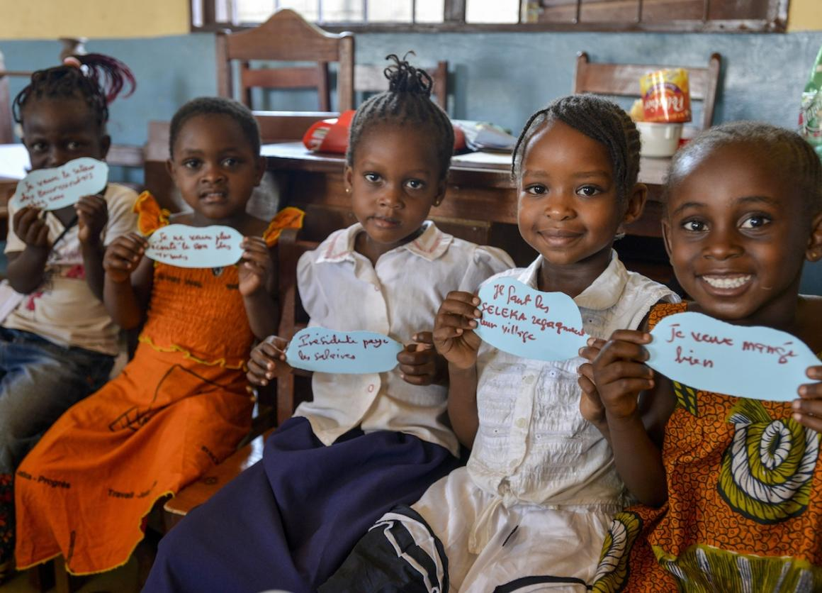 Central Africa Republic, Children's Crisis 2015: Children at a UNICEF-supported peace forum a local  kindergarten in Bangui, Central African Republic.
