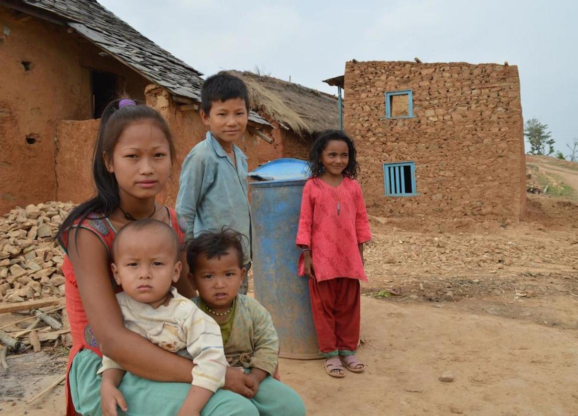 Children in Sitalpati Village Development Committee in Sindhuli, a district affected by Nepal's April 25 earthquake.