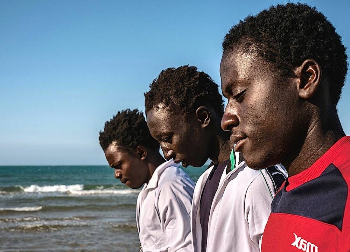 A group of unaccompanied refugee boys from Gambia at a refugee center in Sicily.