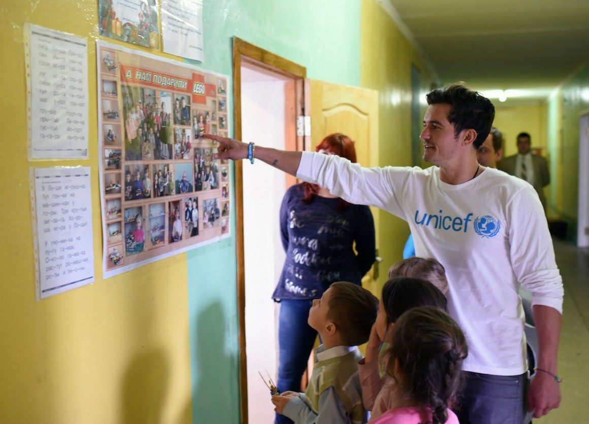 UNICEF Goodwill Ambassador Orlando Bloom visits School #13 in Slovyansk as part of a visit to conflict-hit eastern Ukraine to raise awareness of the global education crisis facing children in emergencies.