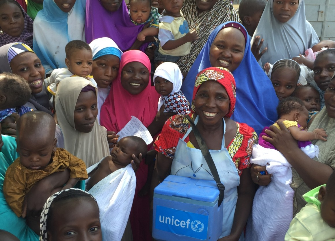 polio vaccinator Aisha Bulama in Maiduguri Metropolitan Council, Borno State, Nigeria. As a polio vaccinator, Aisha is a key member of one of thousands of UNICEF-supported polio vaccination teams who began immunizing children against polio