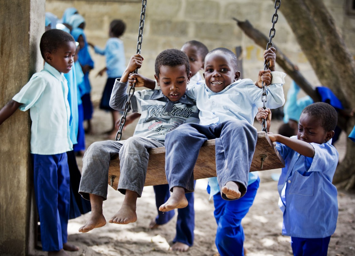 Young children take part in classes at a UNICEF supported nursery school in Tanzania