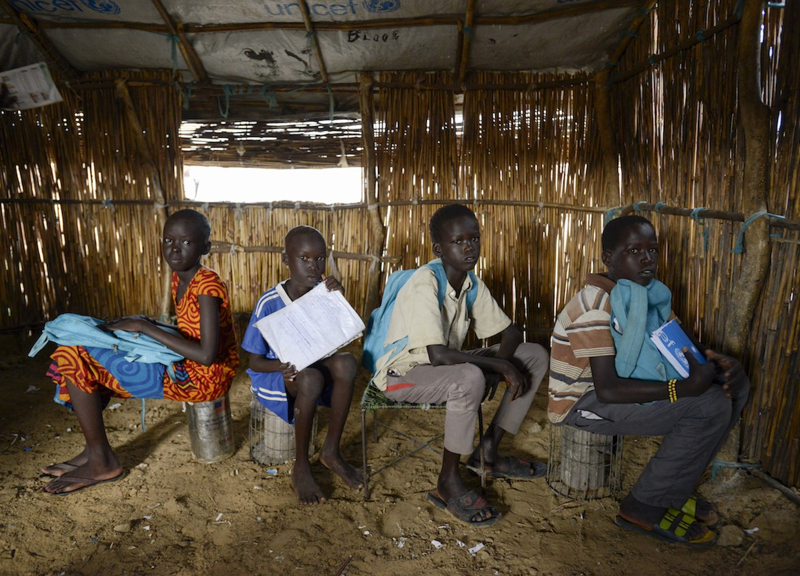 students at a UNICEF-supported school in South Sudan