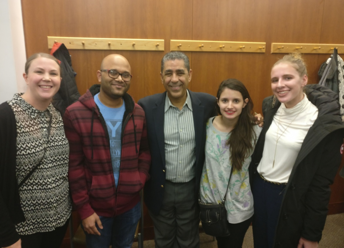 From left to right: Karin Broberg, Praveen Chackalayil, Congressman Espaillat, NYC Community Engagement Fellow Tori Curbelo, and Elise Bousquette