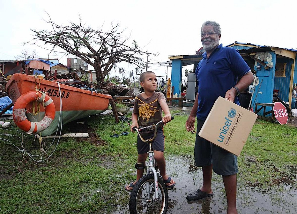 After Hurricane Maria hit Puerto Rico, a father and son received a Family Dignity and Hygiene Kit from UNICEF USA