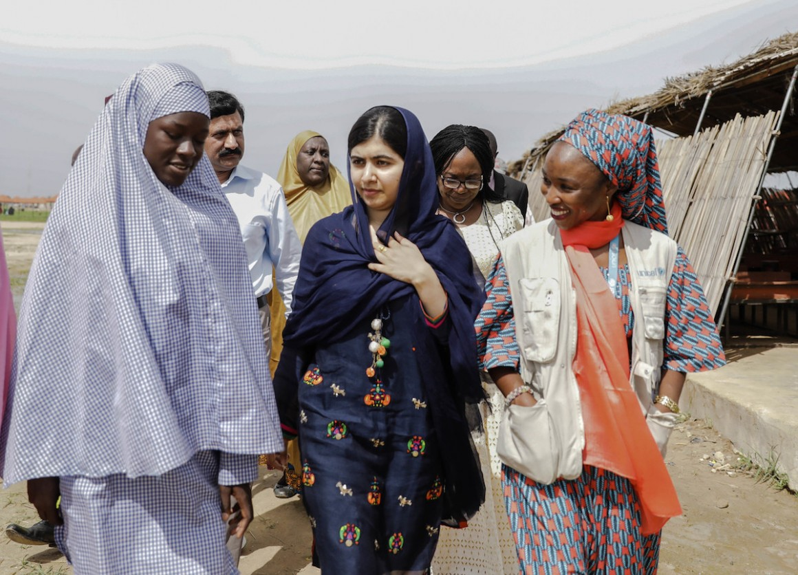 In July 2017, Malala Yousafzai toured a school in Maidaguri refugee camp in northeast Nigeria for students displaced by the Boko Haram conflict.
