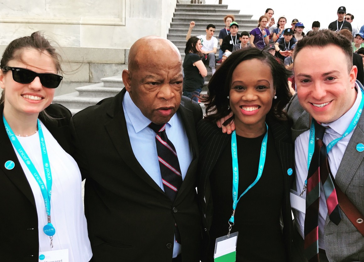 Margaret Griffiths, Fabienne Pierre and Michael Braun meet Rep. John Lewis (D-GA).