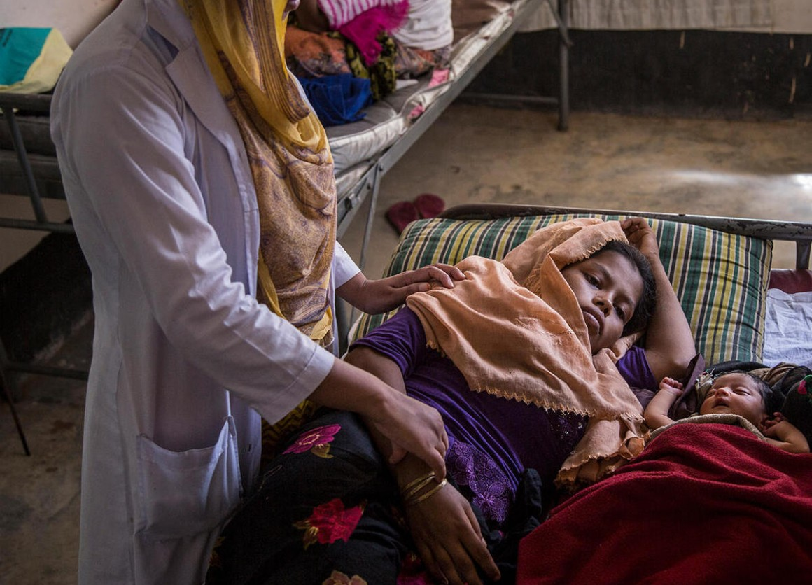 After fleeing brutal violence in Myanmar, 18-year-old Hazera gave birth to her daughter at a UNICEF-supported health center in the Kutupalong camp for Rohingya refugees in Cox's Bazar, Bangladesh.