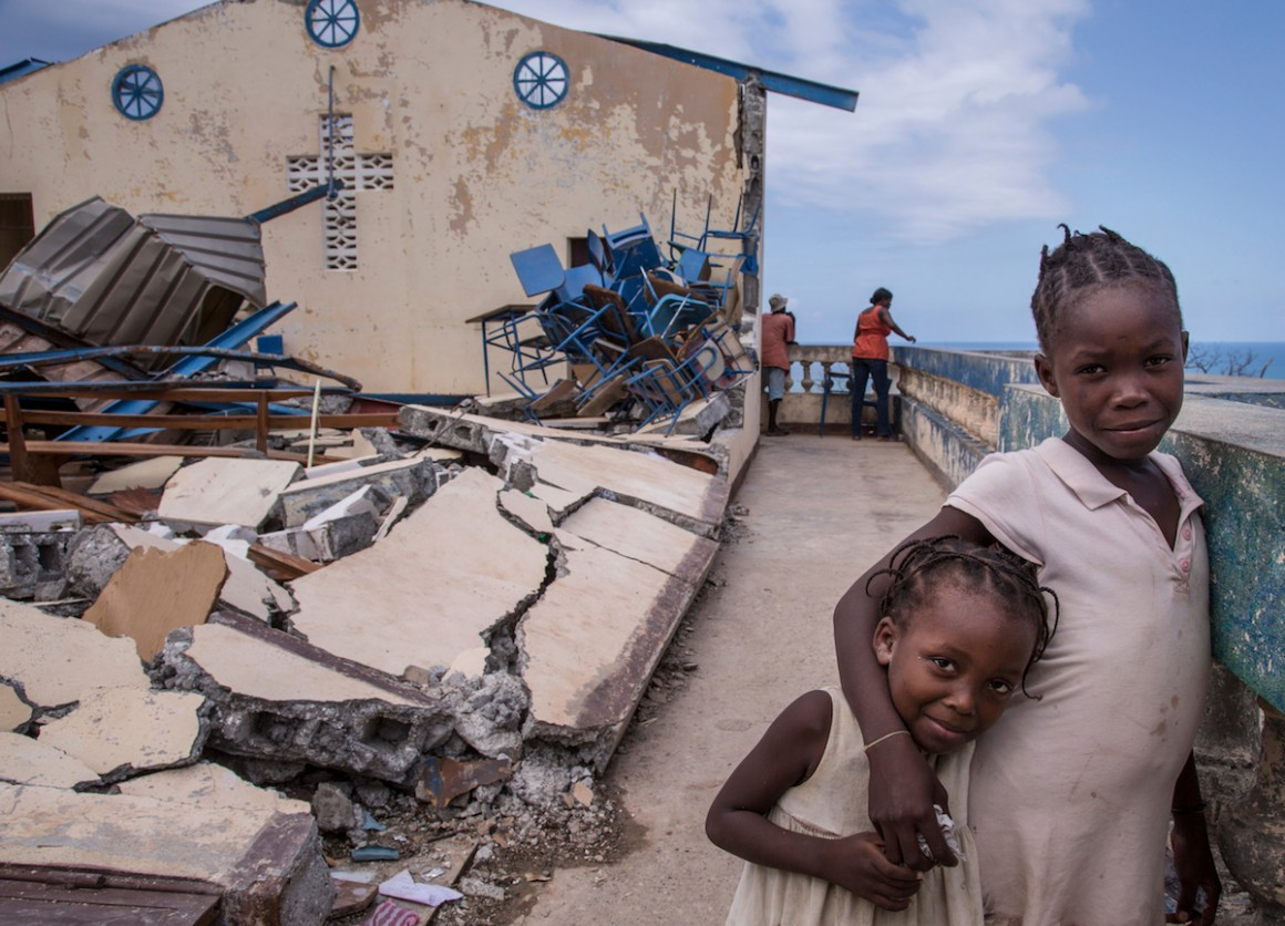 After their homes were damaged or destroyed by Hurricane Matthew, some 300 people sought shelter in a church in Jérémie.