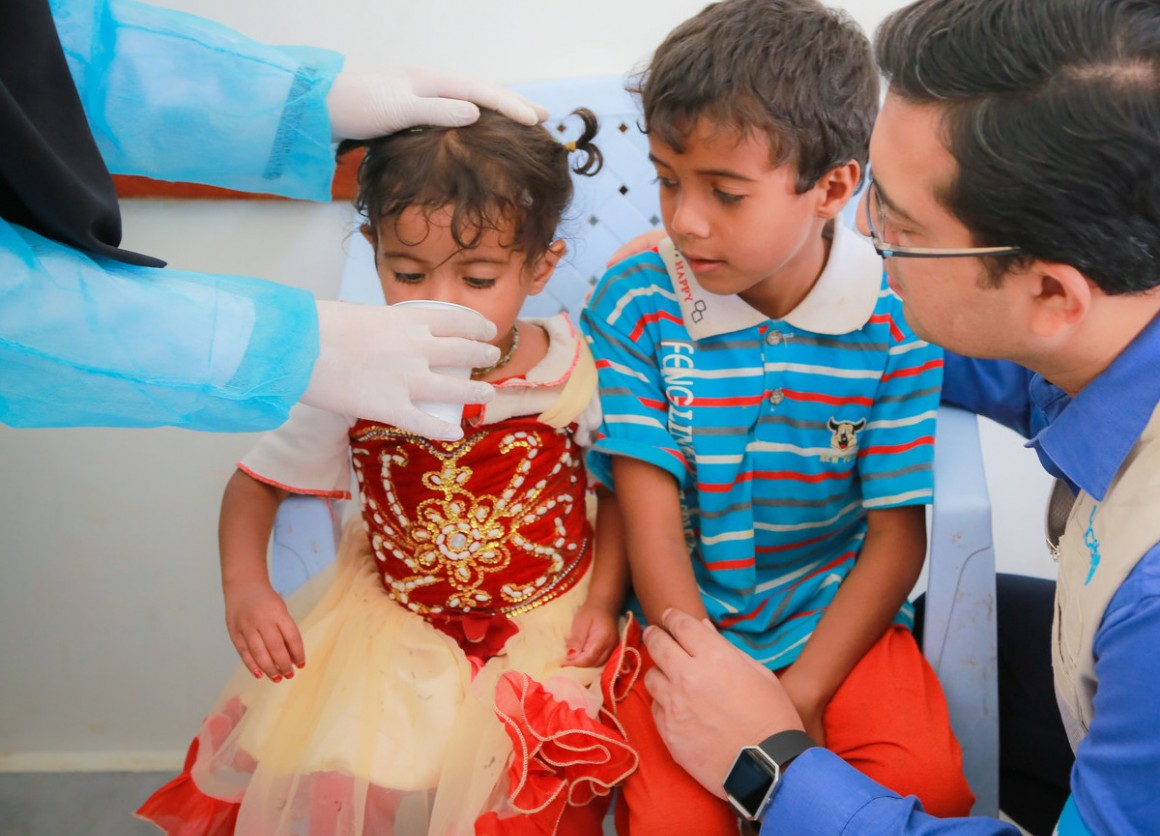 On July 12, 2017 at the Alsonainah Health Center in Sana'a, Yemen, children with acute watery diarrhea/suspected cholera are treated with oral rehydration solution.