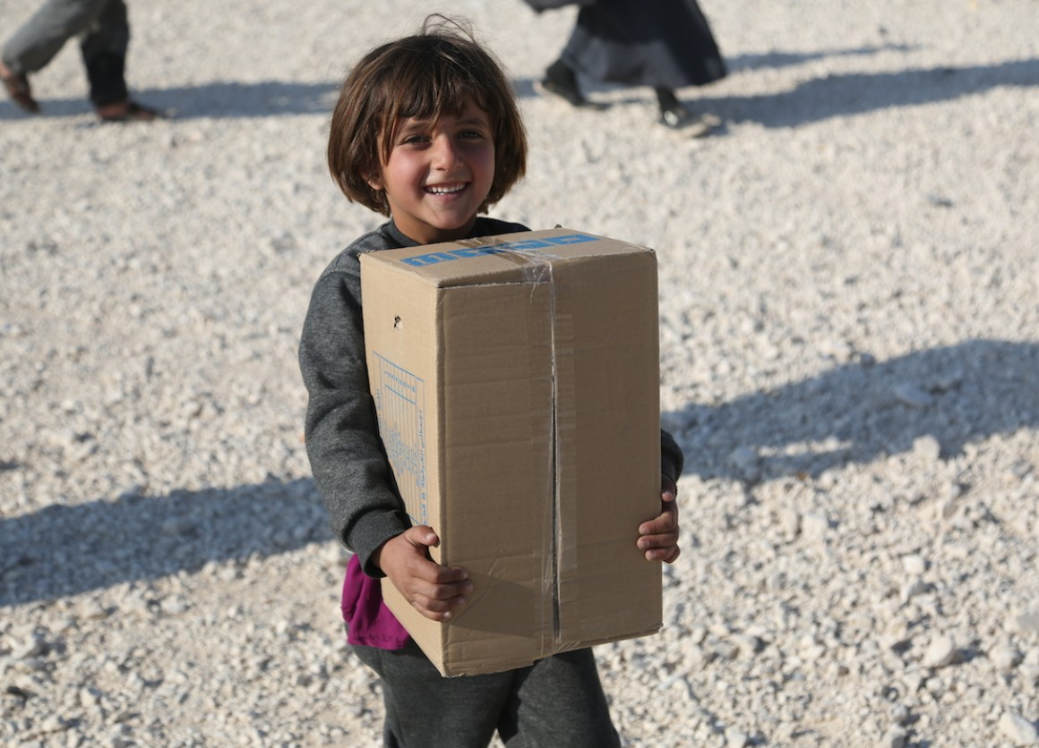 UNICEF is distributing warm clothing and other gear to Syrian refugee children and other kids in the Middle East and North Africa facing hardship this winter.
