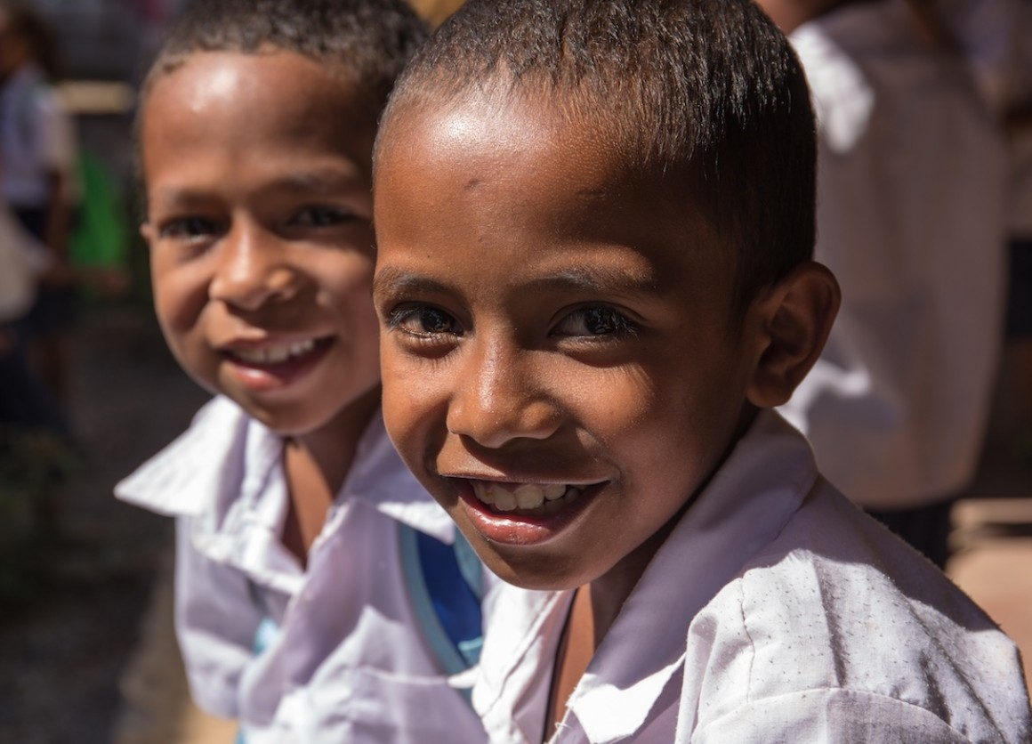 These school children in Timor-Leste benefit from UNICEF-supported education, health, nutrition and immunization initiatives, as UNICEF helps implement comprehensive progress toward SDGs for children