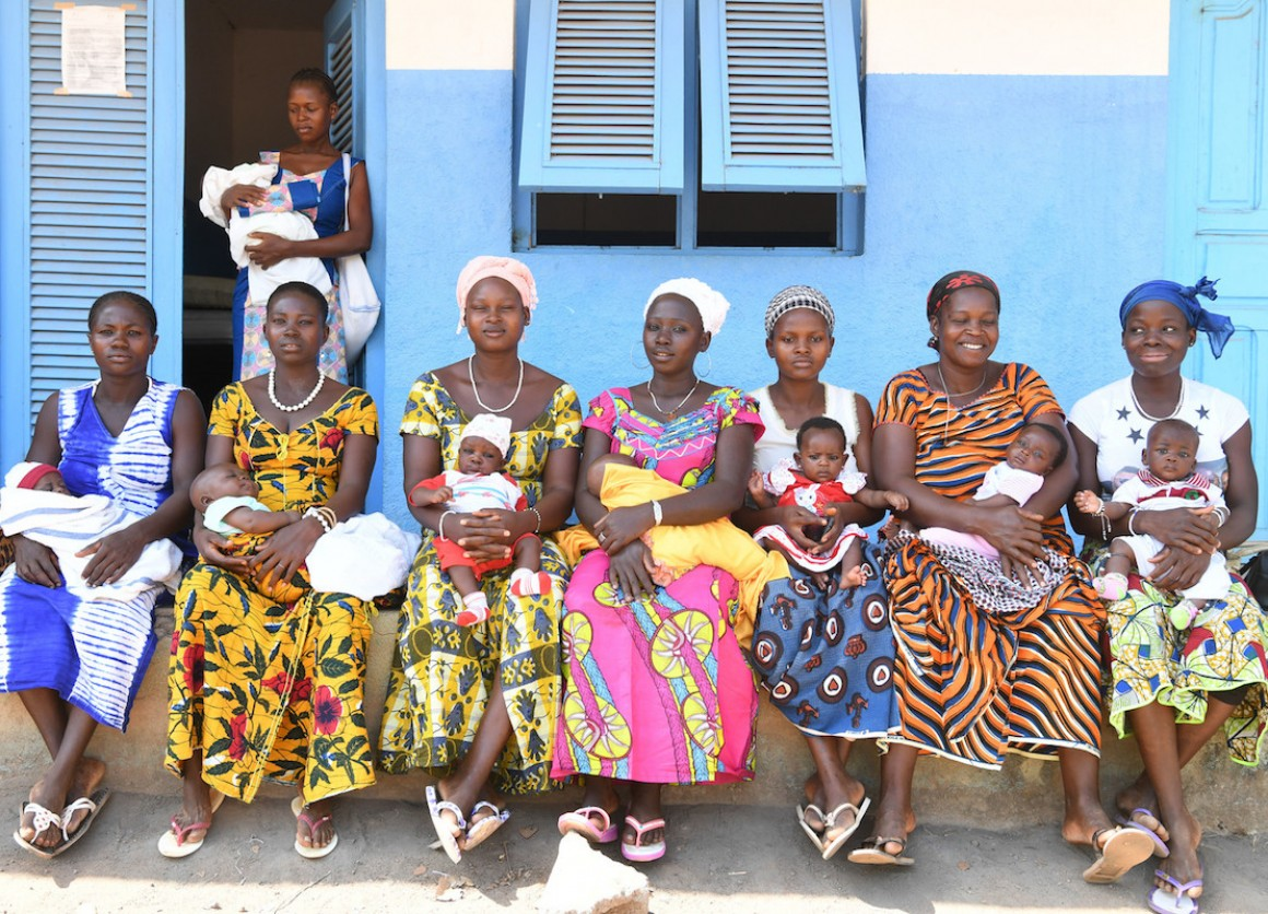 Mothers and newborns at the UNICEF-supported maternity healthy center in the village of Nassian in Côte d'Ivoire.
