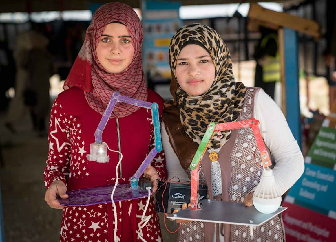 Young people fleeing Syria's civil war are creating inventions that solve refugee camp problems.
