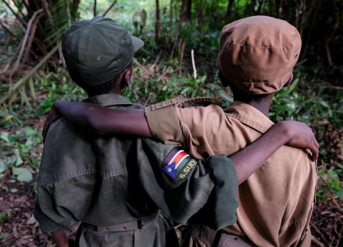 Ganiko, 12, and Jackson, 13, at a ceremony to release children from armed groups in South Sudan in April 2018.