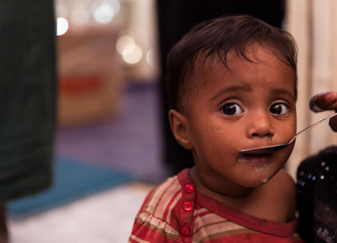 Rohingya refugee Parmina, 11 months old, being treated for severe acute malnutrition by UNICEF and partners in Bangladesh, December 2017.