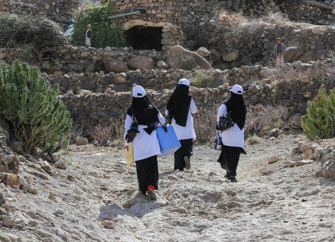 Health workers in Yemen climb mountains to vaccinate children in remote villages.