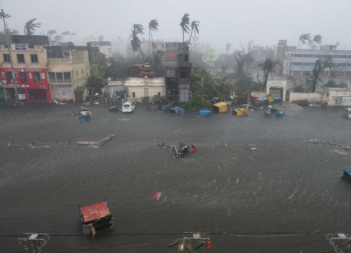 A view of flooding on Grand Road an hour after Cyclone Fani hit Puri, India on May 3, 2019.