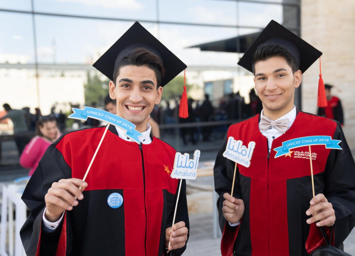 In May 2018 in Jordan, friends Mohammad and Mohammad graduate from a vocational training program on a UNICEF scholarship.
