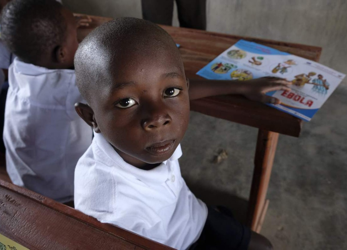 "Beni, Kambale, 7 years old, attends school in the Ndindi neighborhod of Beni, Democratic Republic of Congo, which has been hit by an Ebola epidemic. ""Today I learned that we should wash our hands, and if we don't, we could die from Ebola,"" says Kambale."