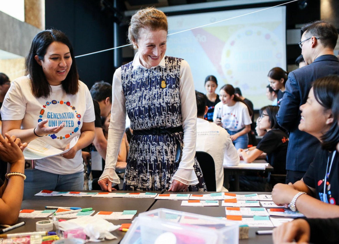 "In October 2018, UNICEF Executive Director Henrietta H. Fore met with participants of ""Generation Unlimited"" boot camp at KMUTT Knowledge Exchange for Innovation in Bangkok, Thailand."
