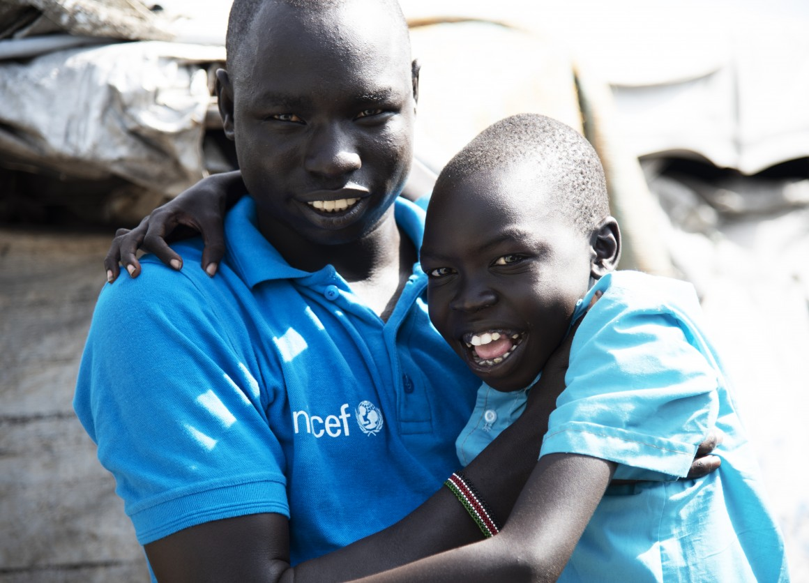 Caseworker Simon Char is checking up on 11-year-old Diech Gwang in the Protecion of the Civilian (PoC) site in Malakal, South Sudan. He has been separated from his family for four years and Simon is trying to find out if his parents are alive.