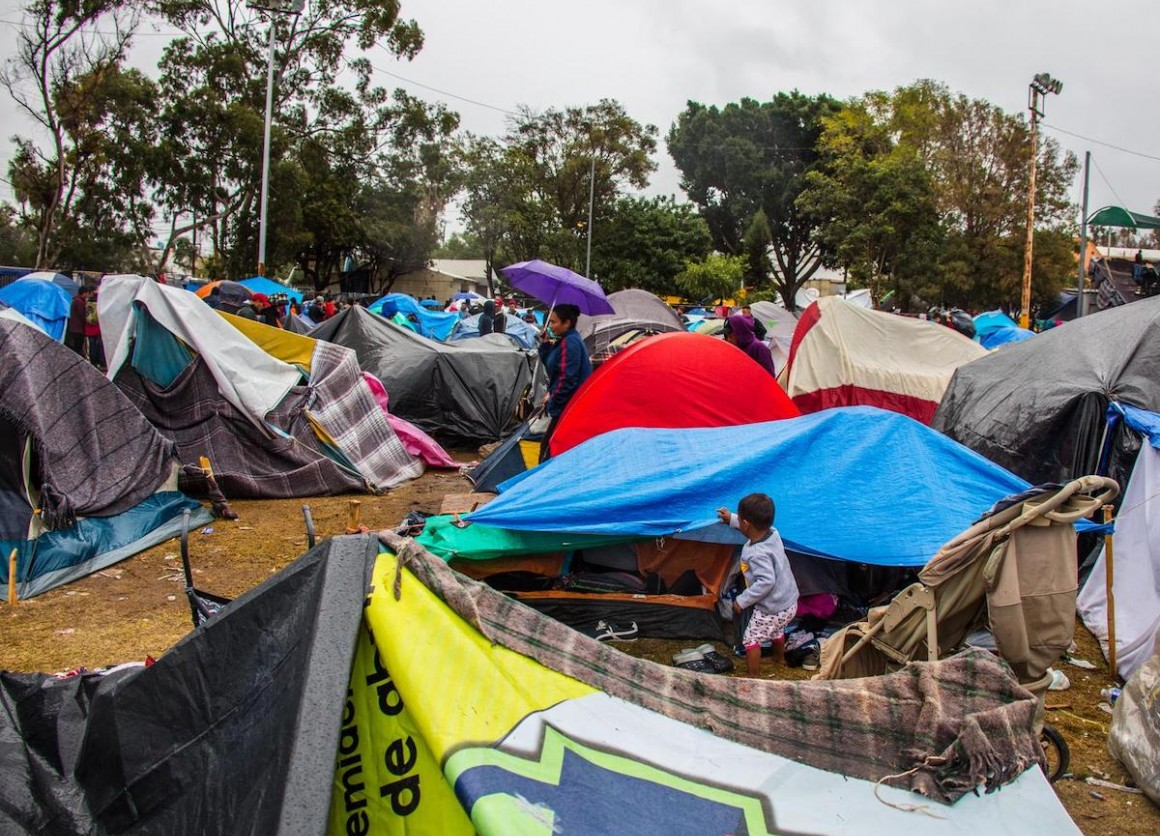 Families migrating from Central America to the U.S. set up makeshift camps in Tijuana, Mexico.