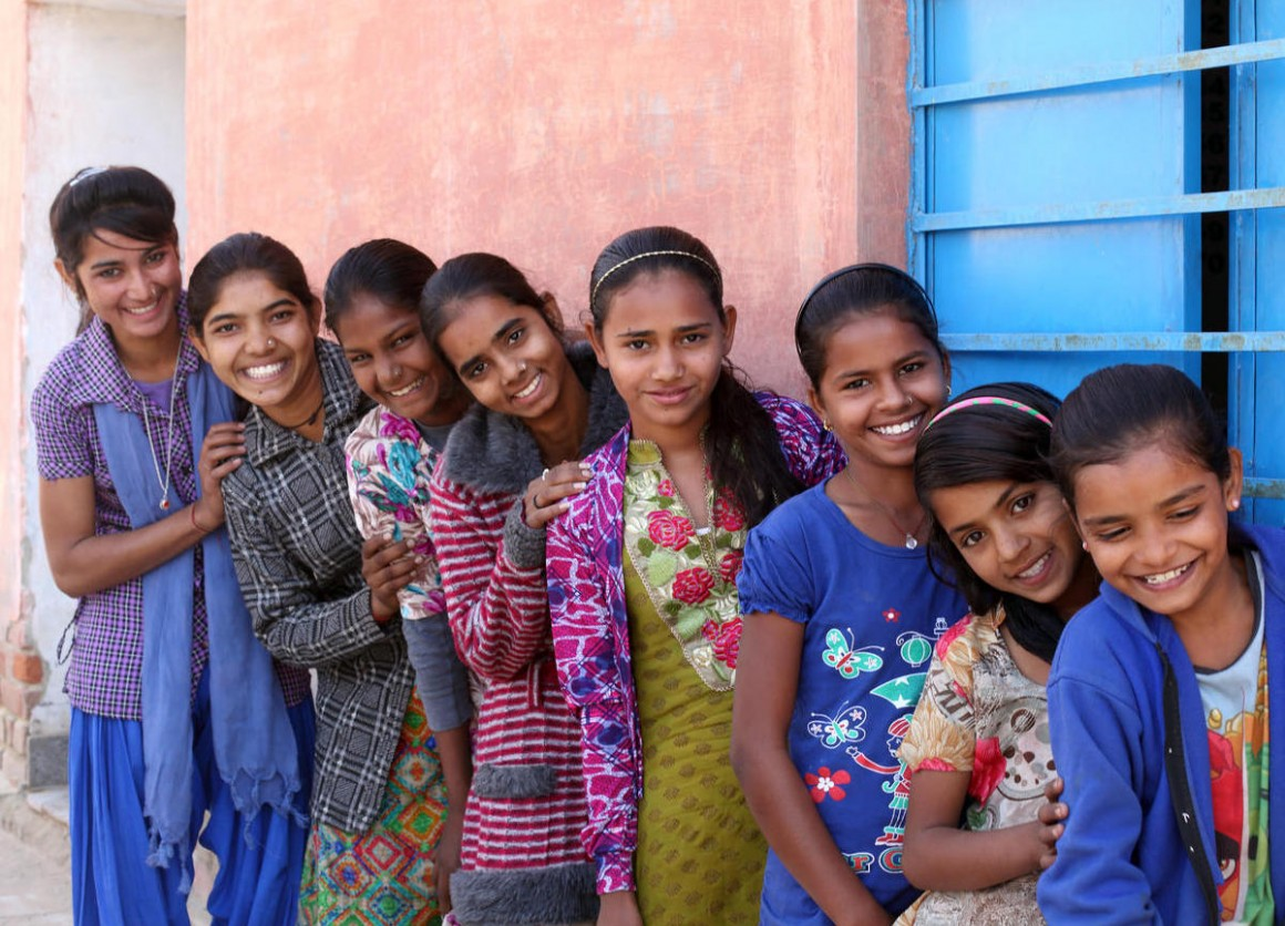 Young adolescent girls in Husangar village, Sri Dungargarh block, Bikaner district, Rajasthan, India in 2018.