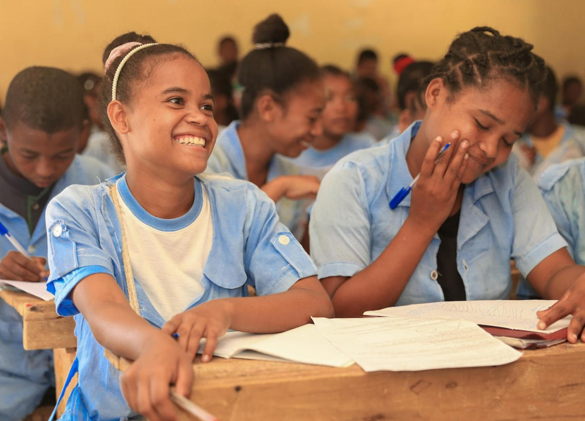 Students in Amboasary, Madagascar participate in a life skills training supported by UNICEF's Let Us Learn initiative.