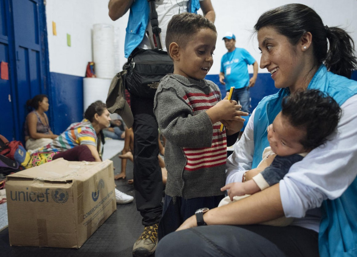 On April 24, 2019 in Cucuta, Colombia, UNICEF Communication for Development specialist Andrea de la Torre talks to children who recently arrived from Venezuela.