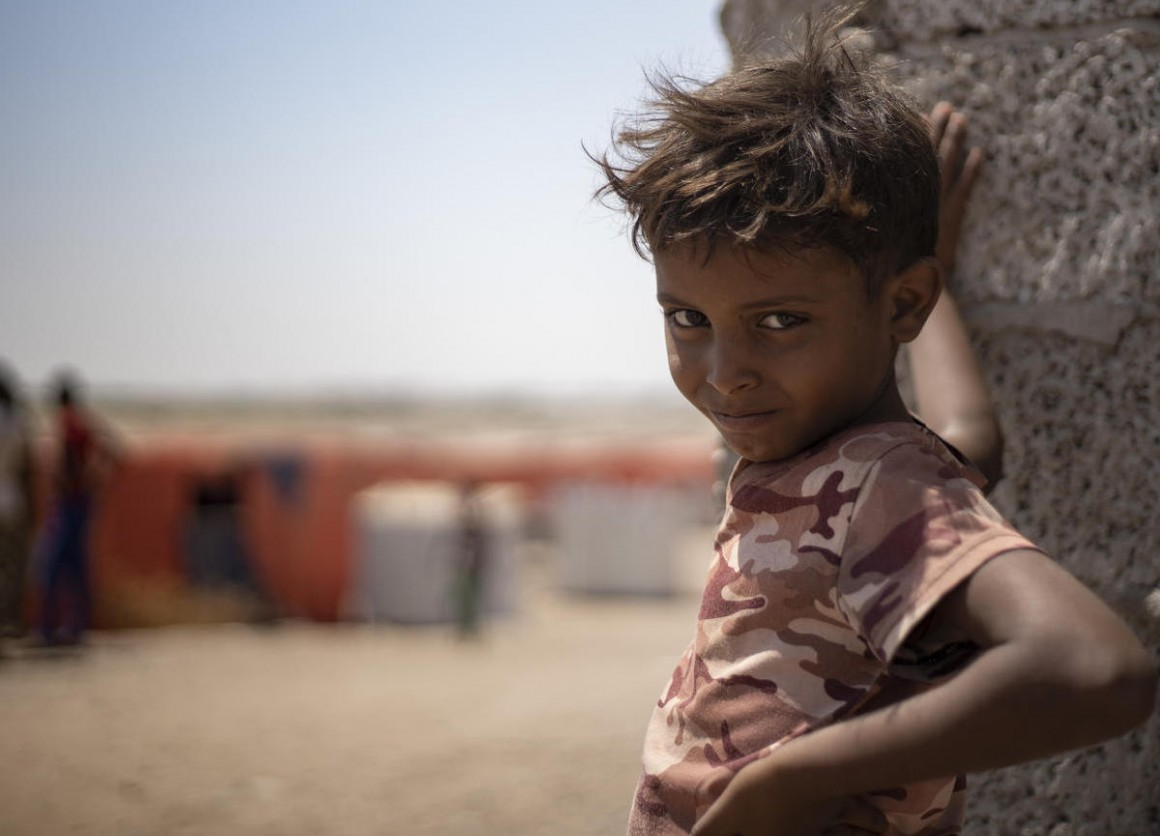 A child from Yemen's Al-Meshquafah camp for internally displaced people, 2019.