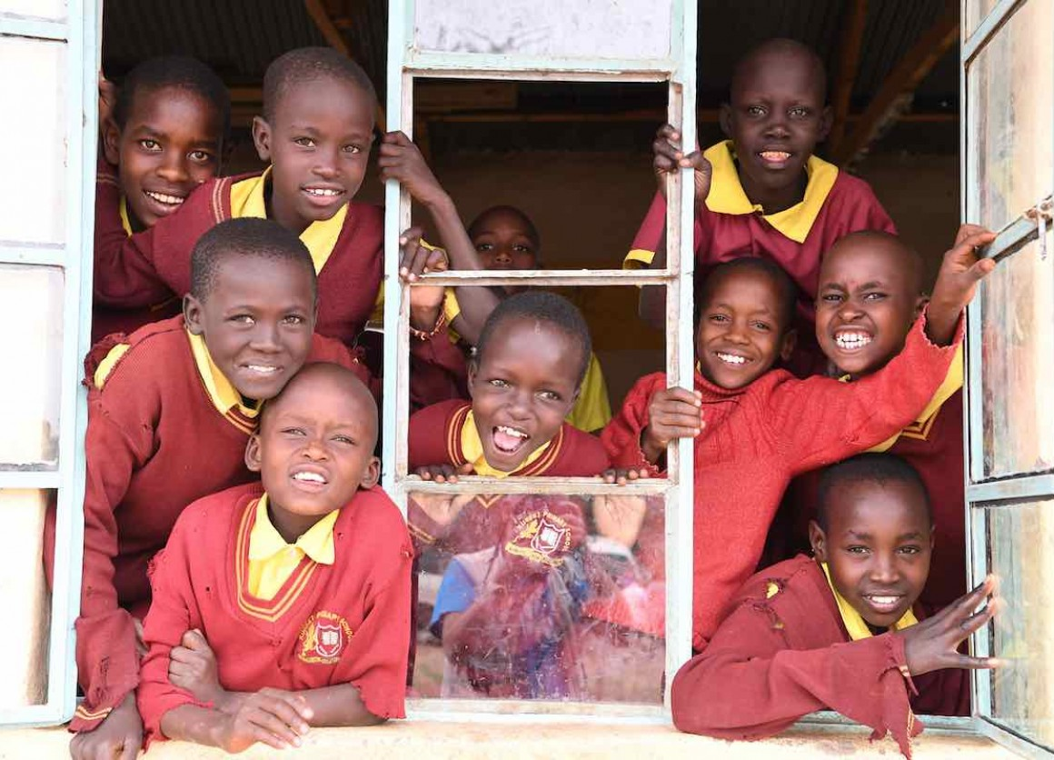 Happy students in a school in the Maasai community in the Kajiado County, in Kenya.