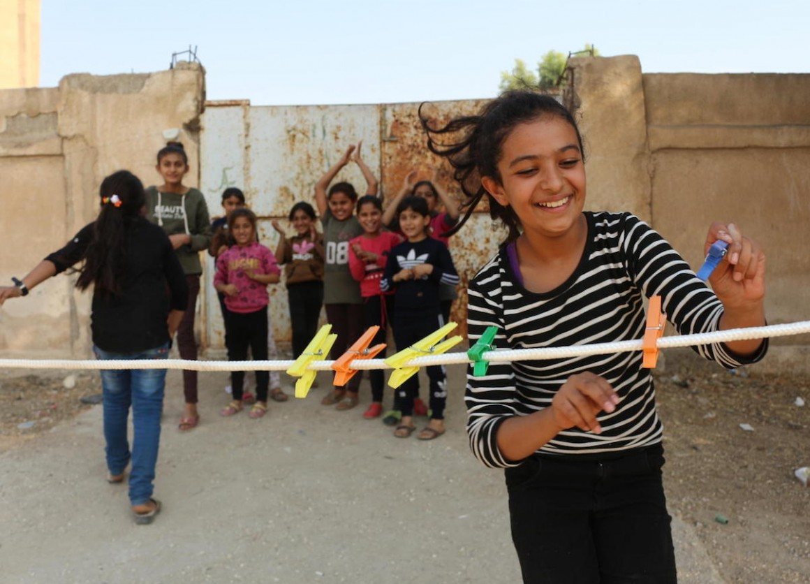 On October 28, 2019 at a shelter in Hasakeh City, Syria, Amani, 12, takes part in game organized by UNICEF staff to help displaced children heal from trauma.