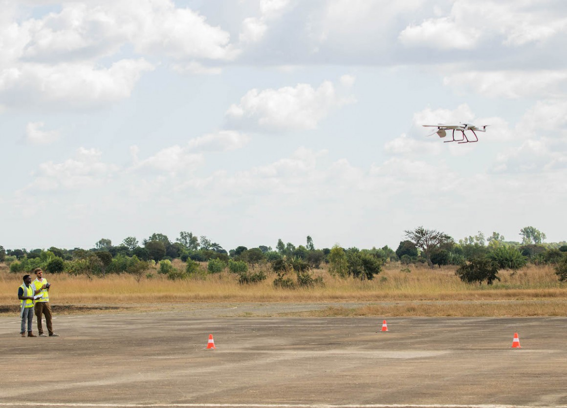 A UNICEF-supported medical supply delivery drone takes off from the Kasungu airstrip in central Malawi in 2019.