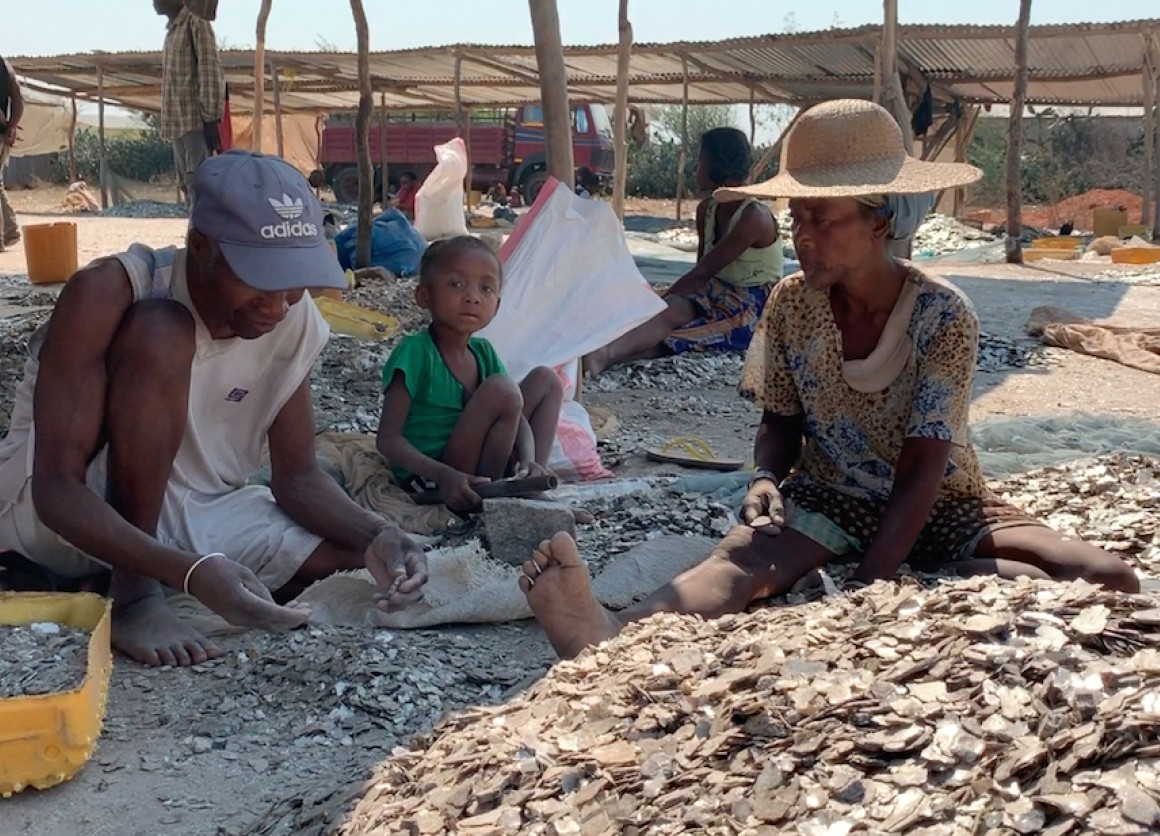 Children often accompany parents working at the mica mines in Madagascar's southern region.
