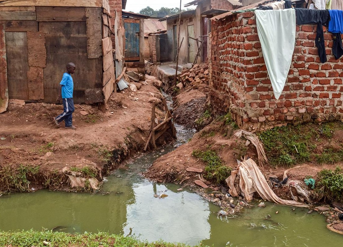 Informal settlements in Kampala City, Uganda, lack proper infrastructure and resort to using communal latrines.