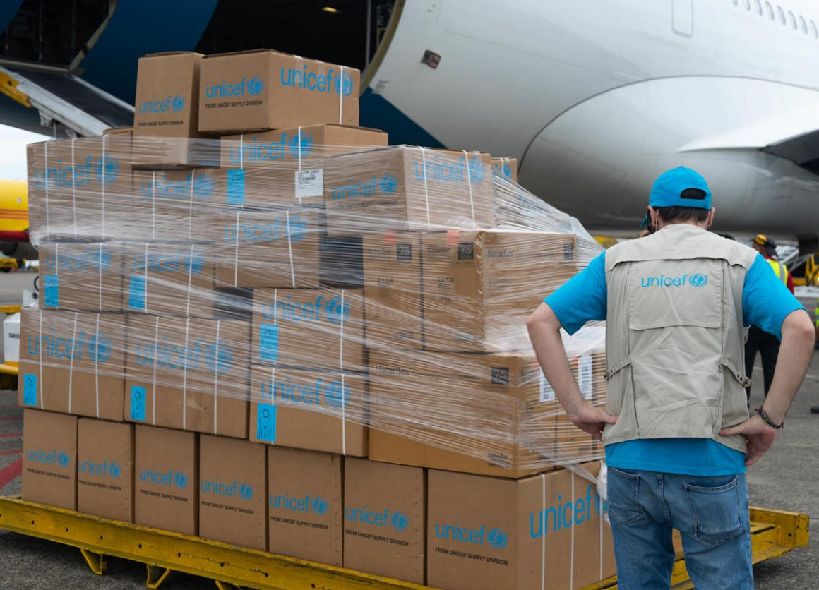 An Airbus plane carrying 9 tons of UNICEF medical supplies arrived in Panama on March 7, 2020. The supplies were prepositioned to support the regional response to the COVID-19 pandemic.