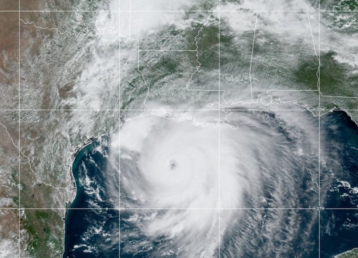 An image from the National Hurricane Center at NOAA showed Hurricane Laura approaching the Gulf Coast on Wednesday, August 26, 2020.