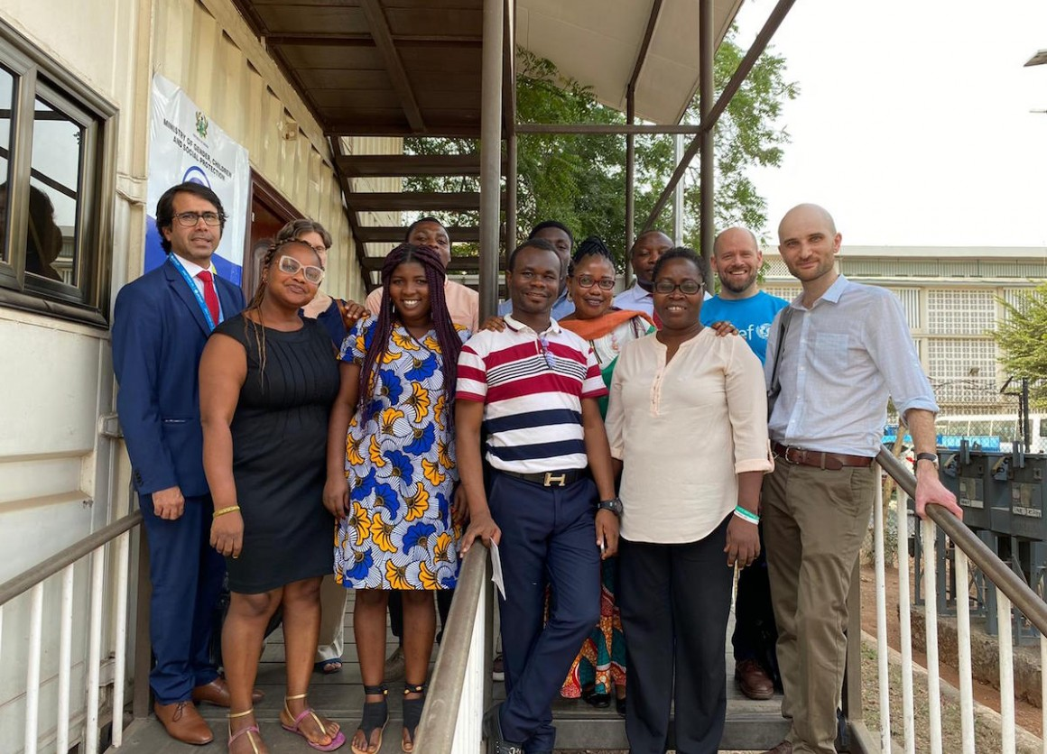 The Primero technical team with UNICEF Ghana CP team and MoGCSP colleagues at UNICEF in Accra, Ghana in 2020.