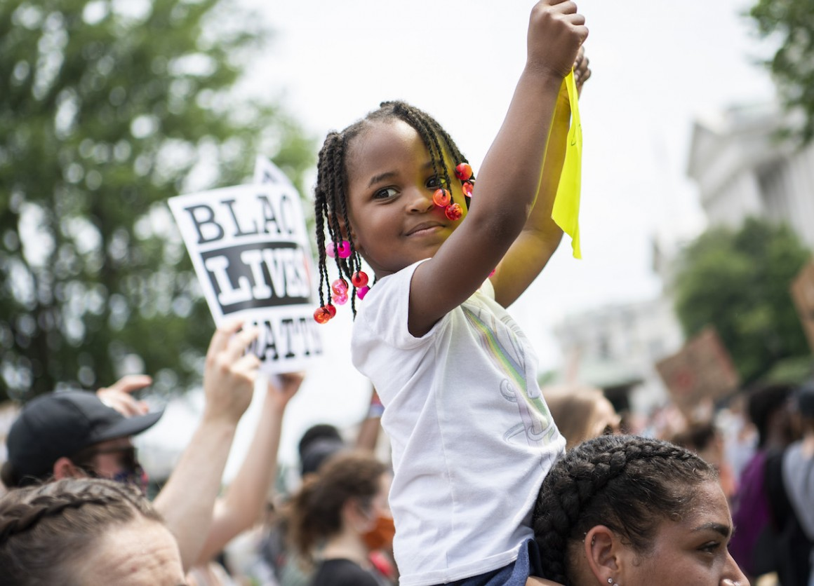 Demonstrators are seen on Constitution Avenue while marching to Freedom Plaza from Capitol Hill to honor George Floyd and all victims of racial injustice on Saturday, June 6, 2020.