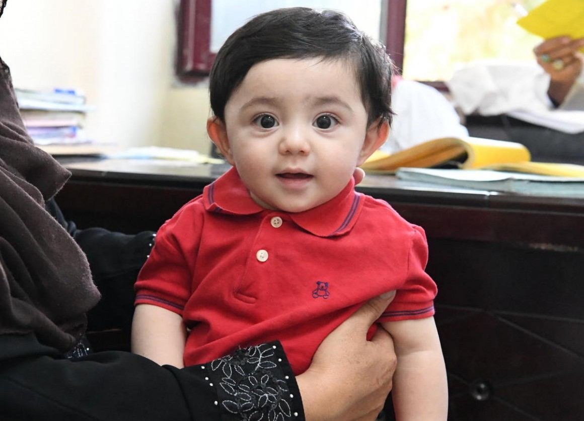 Nine-month-old Mubashir waits to be vaccinated at the UNICEF-supported Indra Gandhi Hospital in Kabul, the capital of Afghanistan, on August 17, 2019.